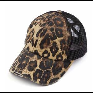 C.C. Leopard & black pony cap.